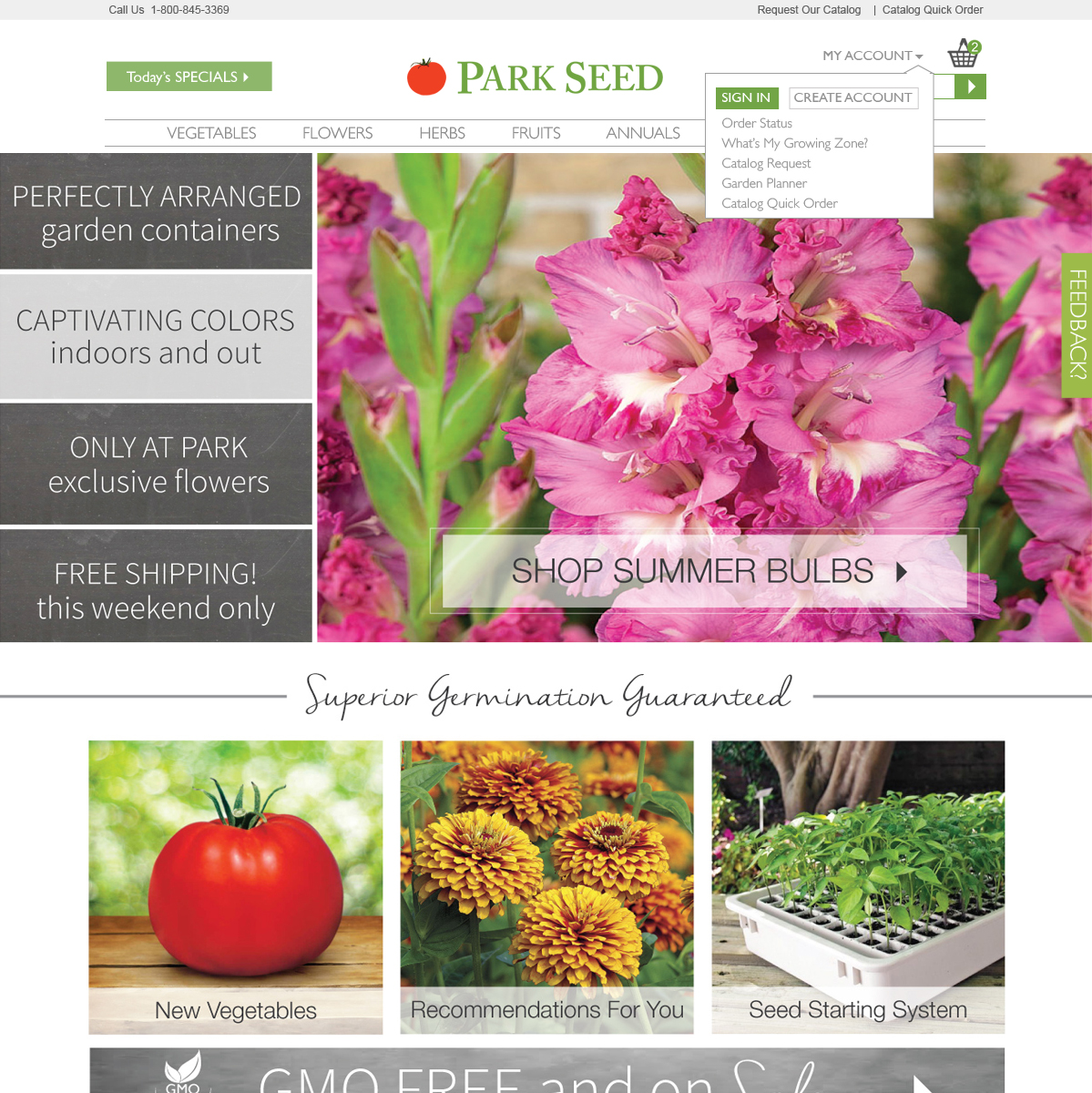 Park Seed account feature