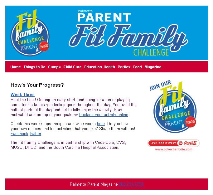 Fit Family Challenge Email Marketing