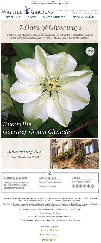 Wayside Gardens 94th anniversary sale